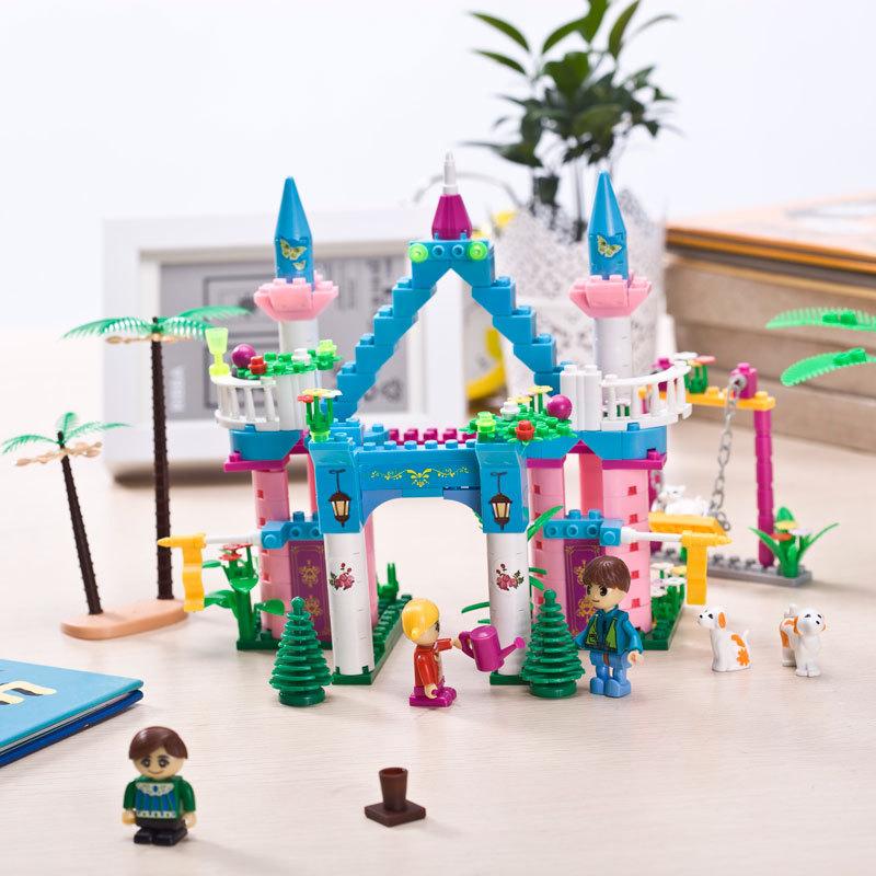 六一精灵邦宝乐高式玩具拼装拼插女孩模型塑料城堡礼物益智玩具马车小积木图片