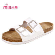 Mickey female summer beach slippers leather cork drag boat trailers Birkenstocks couple flat sandals female tx-1