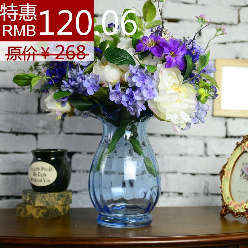 欧式花瓶田园透明圆形玻璃花瓶仿真花套装台面玻璃花瓶家居装饰花