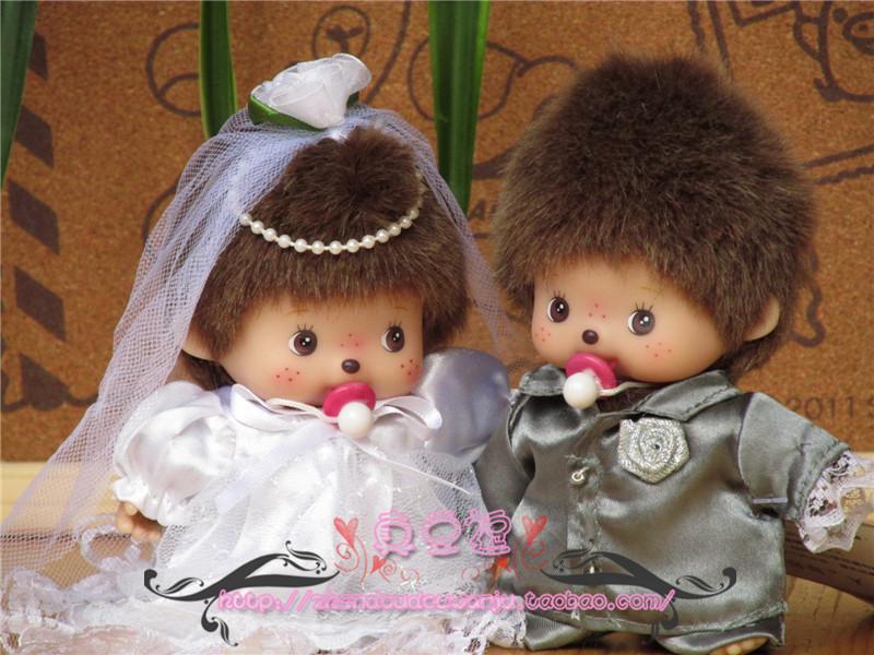 正版蒙奇奇公仔 香港沃克版蒙奇奇 娃娃 15CM BB情侣款*婚纱款