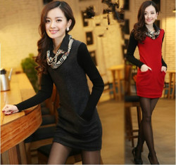 Slim korean style long sleeve woolen scarves collar dress stitching bottoming