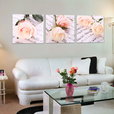 Special diy digital painting landscape living room triple mosaic mural decoration pink roses married couples