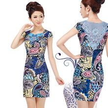 Openwork lace cheongsam improved cheongsam dress summer fashion style retro sexy short mini dress cheongsam
