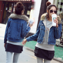 Short style cotton jacket korean style shorts denim jacket detachable fur collar
