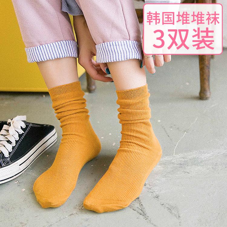 3双堆堆袜春夏季日系森系韩国中筒袜子女棉袜长袜潮靴袜秋冬款