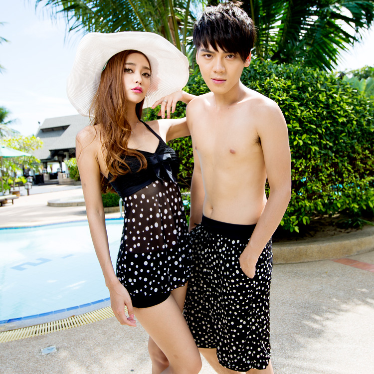 2013包邮奢奇情侣装泳衣韩国沙滩情侣装女士分体平角显瘦遮肚泳装