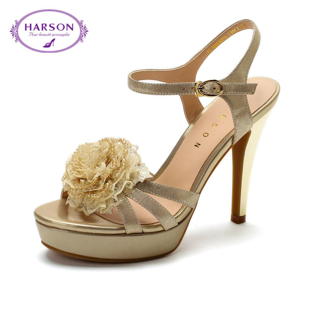 哈森2013夏季新款羊皮高跟凉鞋时尚甜美防水台女鞋hc39009图片