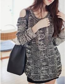 包邮 2013秋季新款 韩版 新款 宽松 小性感复古露肩毛衣针织衫