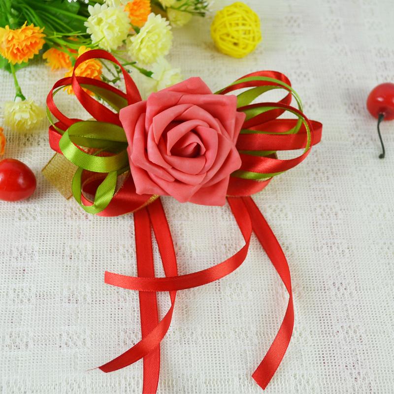 Цветок на запястье Букеты, Свадебные подарки, свадьбы подарок для невесты запястья обеспечивает моделирование цветок кисточкой два цветная лента
