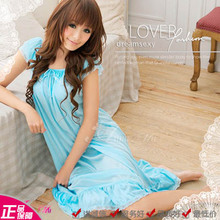 Love is sweet moon Double lace collar falbala sexy nightgown household Close skin cute pajamas