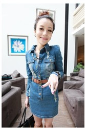 Korean style slim denim dress skirts