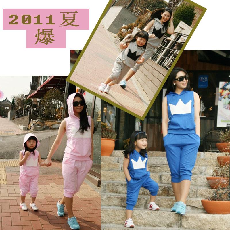 Семейные футболки «Летняя распродажа» корейской версии и летняя Детская одежда патч Корона Бао Чао весело оборудование Корейская версия