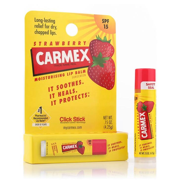 美国Carmex小蜜缇草莓SPF15护唇润唇膏/转管装/4.25g