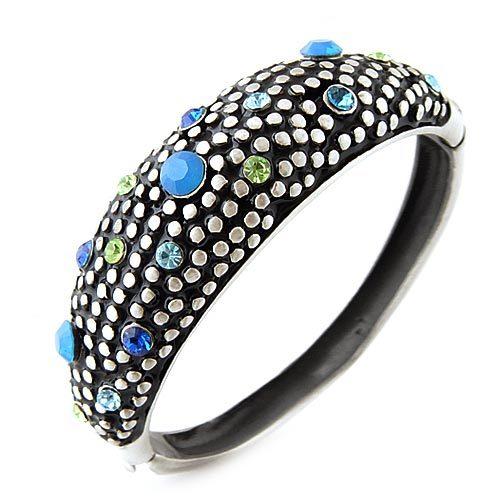 专柜正品 新光饰品蓝色钻锆石拉风复古手镯手环 女式韩版时尚镯子