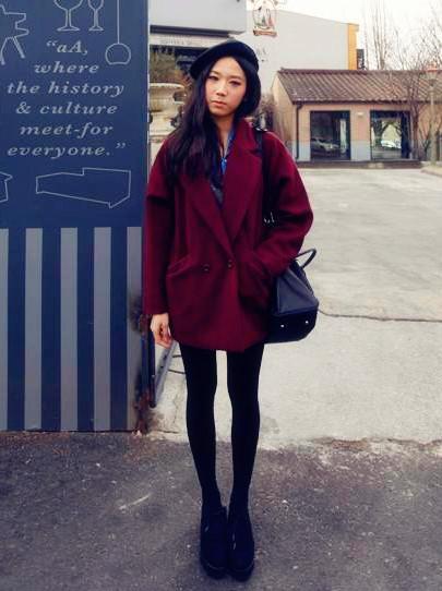 женское пальто Ретро Винтаж Корея свободные шерсти платье пальто лацкан пальто куртки для осень/зима красавицы ЧАО фан-арт