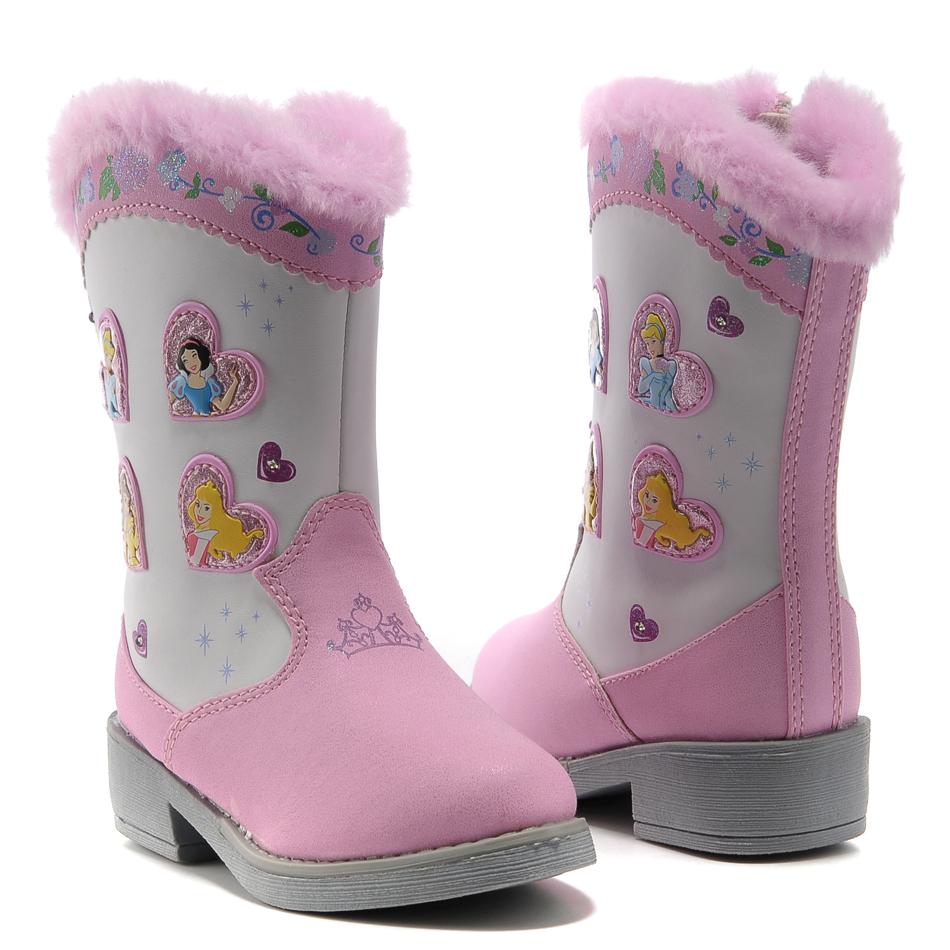 迪斯尼闪灯女童靴子童靴2012 童鞋防水雪地靴韩版冬靴