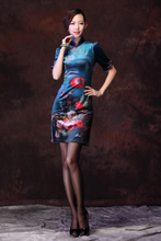 (Cheongsam Kungkuan) new improved cheongsam dress the elegant cheongsam af t stretch blue OL summer cheongsam