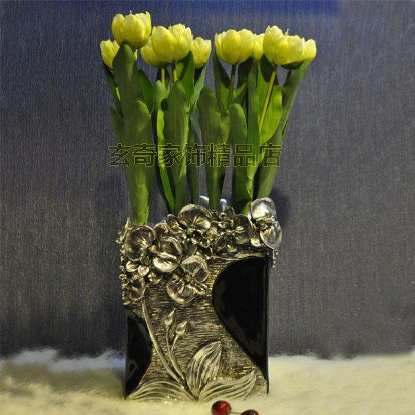 玫瑰花插插花欧式摆件 家居装饰品摆设 新房创意实用工艺客厅摆饰