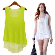 2013 summer new women's candy-colored chiffon shirt dress fake two summer camisole dress bottoming shirt
