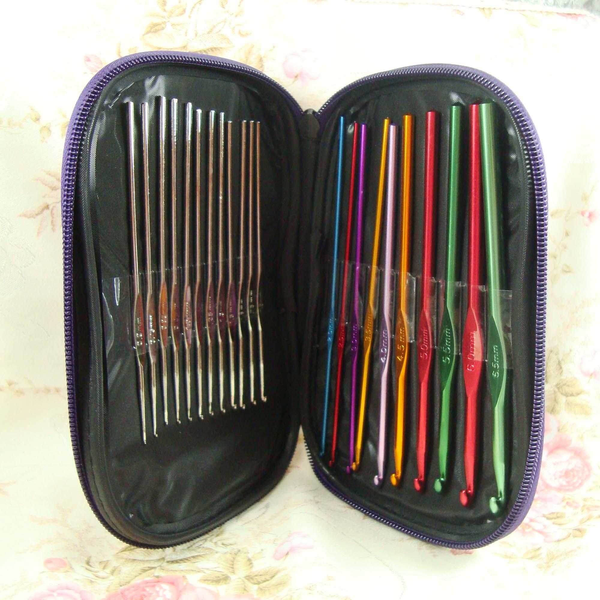 Аксессуар Ткачество инструменты DIY цвет + серебристый металлик свитер крючком иглы иглы набор 22