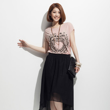 McCaw 2013 new summer Korean women loose short-sleeved T-shirt printing minimalist Hot Women