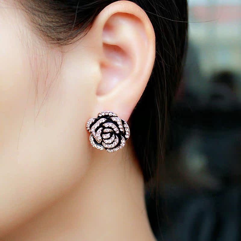 防过敏耳坠银饰品 韩国淑女款耳饰耳钉礼物包邮 时尚夸张玫瑰耳环