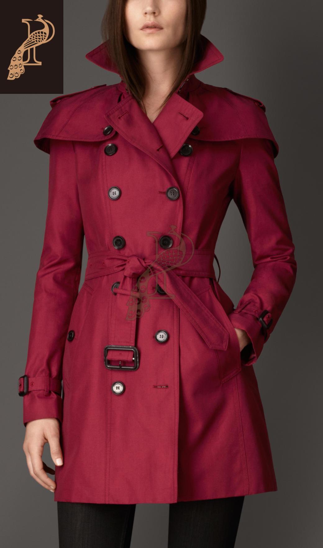 美國代購巴寶莉burberry女裝風衣london系列 紅色中長