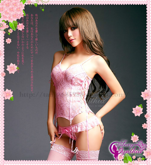 Pierced transparent lace Camisole Suspender stockings sexy stockings thong garter set in Europe and America