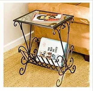 Simple and stylish phone a few small coffee table glass, wrought iron sofa side a few corner a few special offer free shipping to be customized