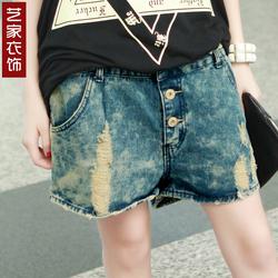 [限时特价抢购]2013韩版大码牛仔短裤热裤垮裤三颗扣做旧复古五分裤s-xxxl