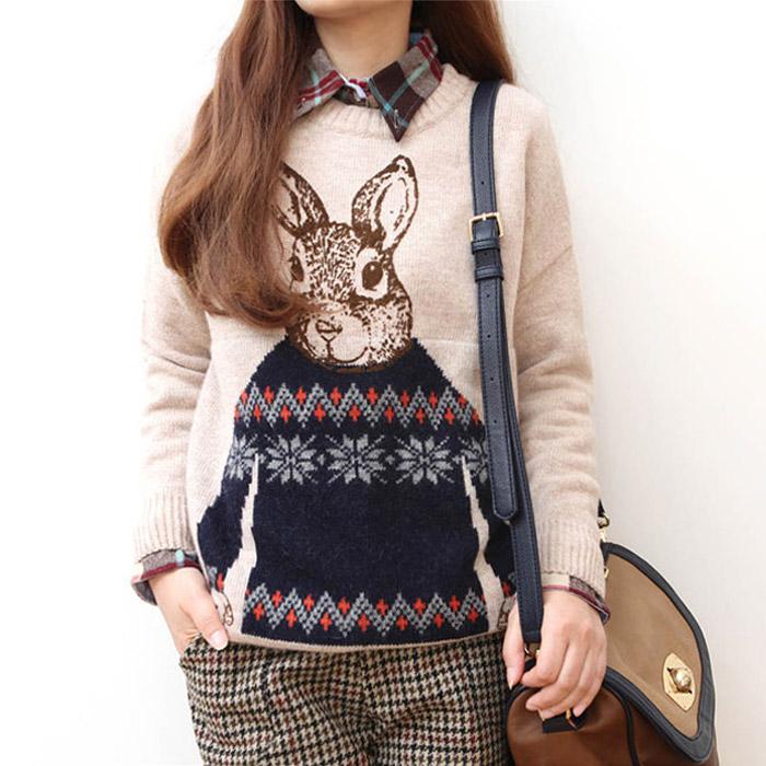 Блузки осень/зима 2014 новые кролик дикий Корейский Ветер экипажа пуловер свободные базовый колледж женщин шеи