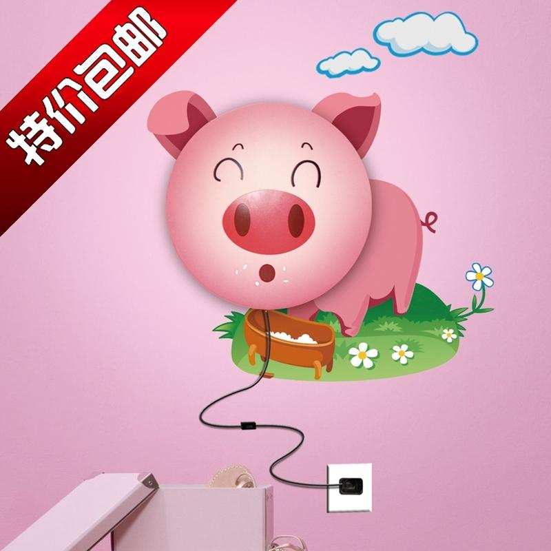 有视频 新品 超萌粉红猪墙纸壁灯宝宝最爱创意居家儿童房壁灯