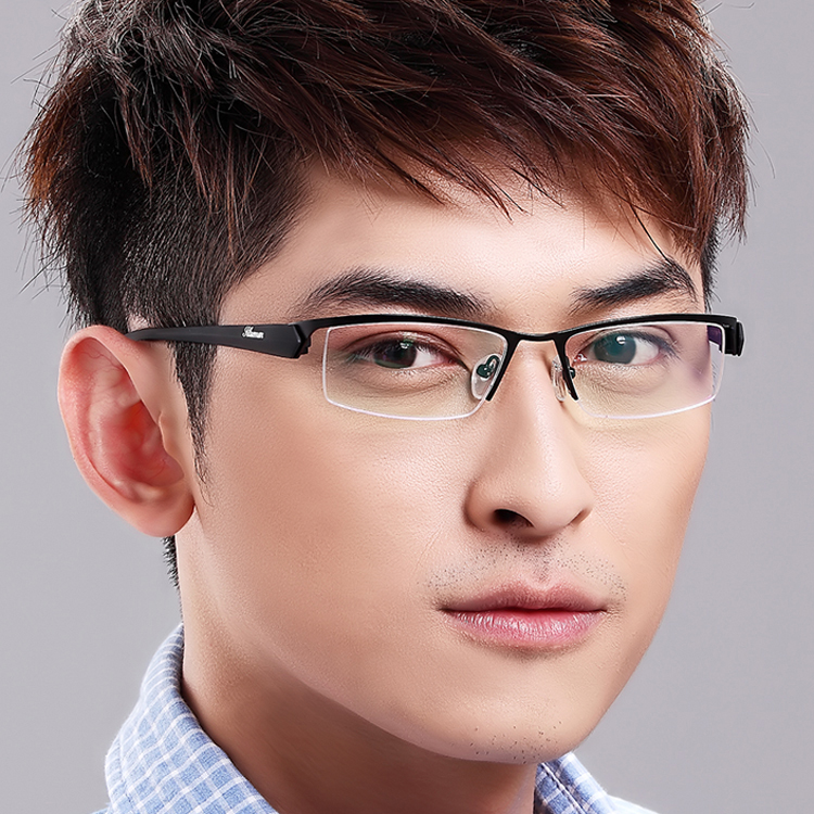 Mens Semi Rimless glasses spectacle frames myopia eye box ...