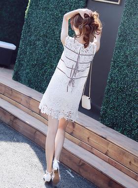 西西小可 2016夏装新款优雅蕾丝裙圆领无袖后系带内衬吊带连衣裙