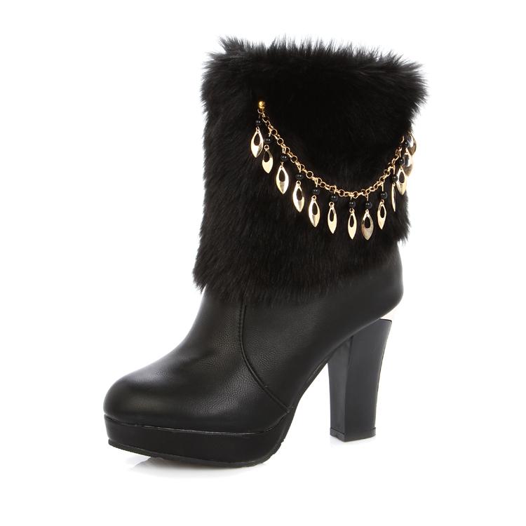 秋冬新款高跟防水台短靴女毛毛靴粗跟欧美风时尚及踝靴时装靴女靴