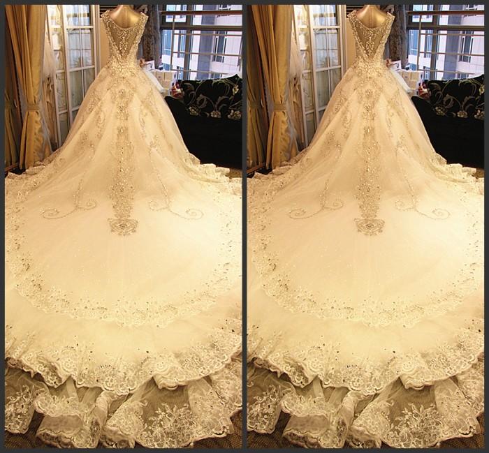 婚纱礼服2013新款超闪性感婚纱韩式韩版绑带抹胸新娘拖尾婚纱xj22