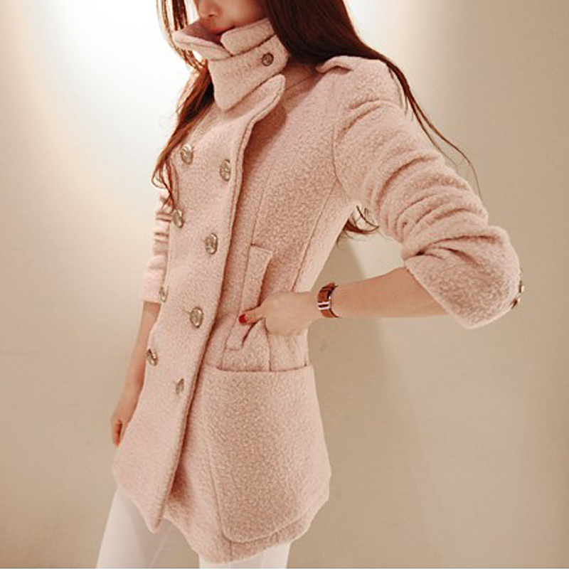 женское пальто Южная Корея 2013 partysu лацкане шерстяные длинный тонкий двубортные шерсти пальто шерстяной ткани куртка