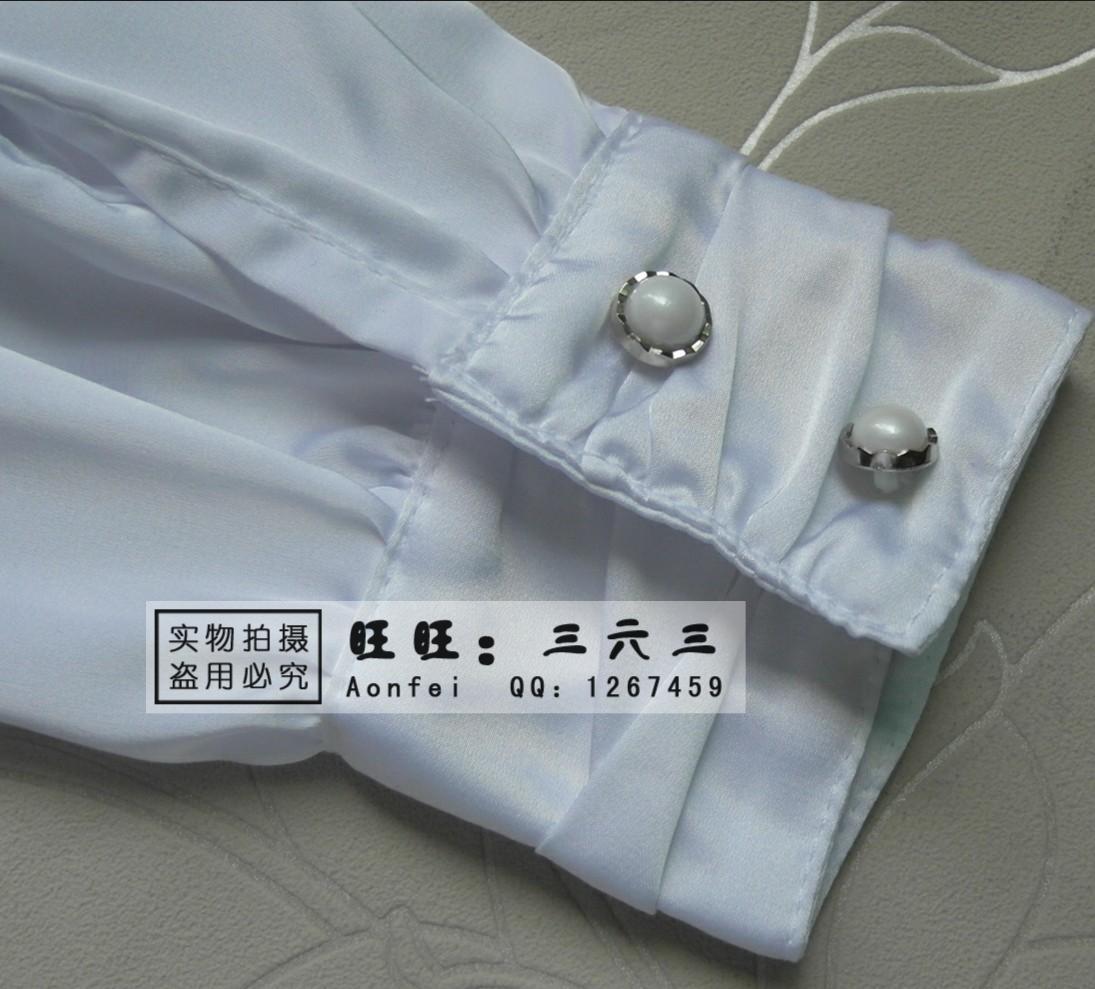 женская рубашка Aonfei 3550 2012 Повседневный Длинный рукав Однотонный цвет Оборка Воротник-стойка