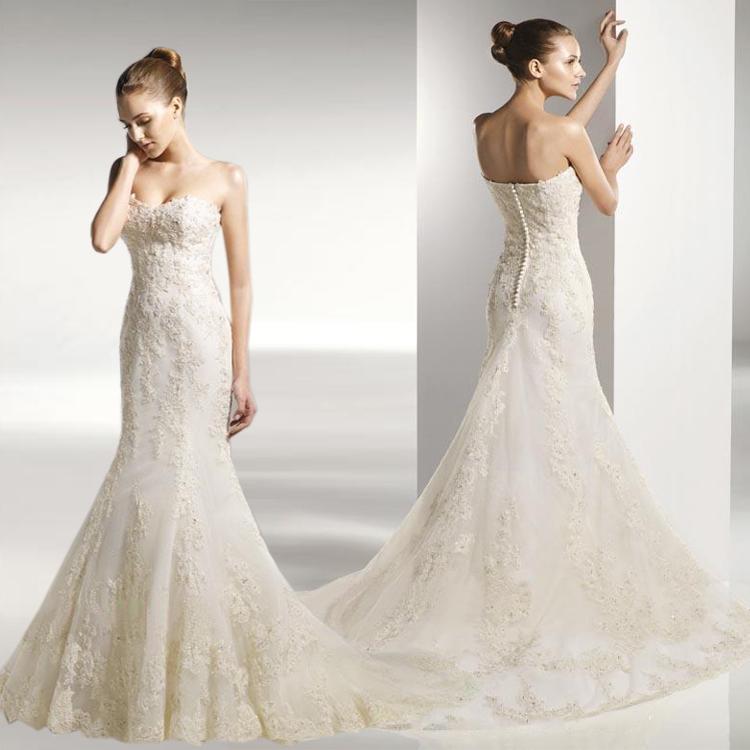 婚纱礼服 verawang王薇薇欧美公主蕾丝修身显瘦鱼尾2013新款拖尾