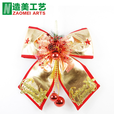Making the US Christmas decoration Korean upscale bow Christmas decoration red and gold bow window decoration