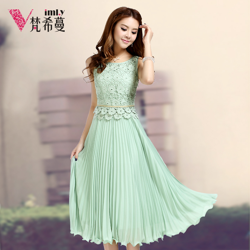 Women sleeveless chiffon long dress