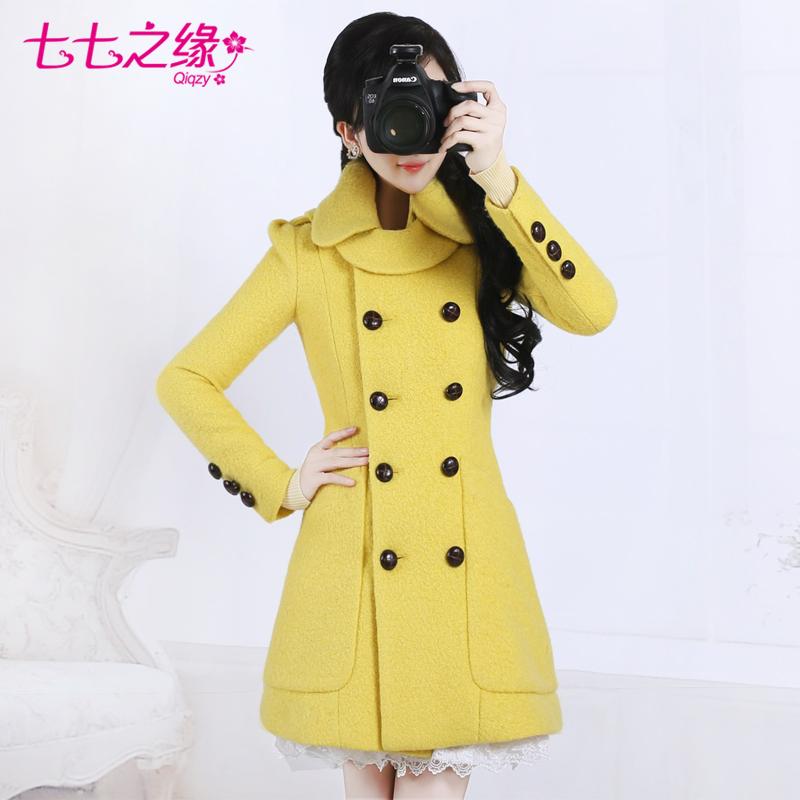 色情七七_毛呢大衣七七之缘女装秋冬欧美街头黄色色帅气双排扣