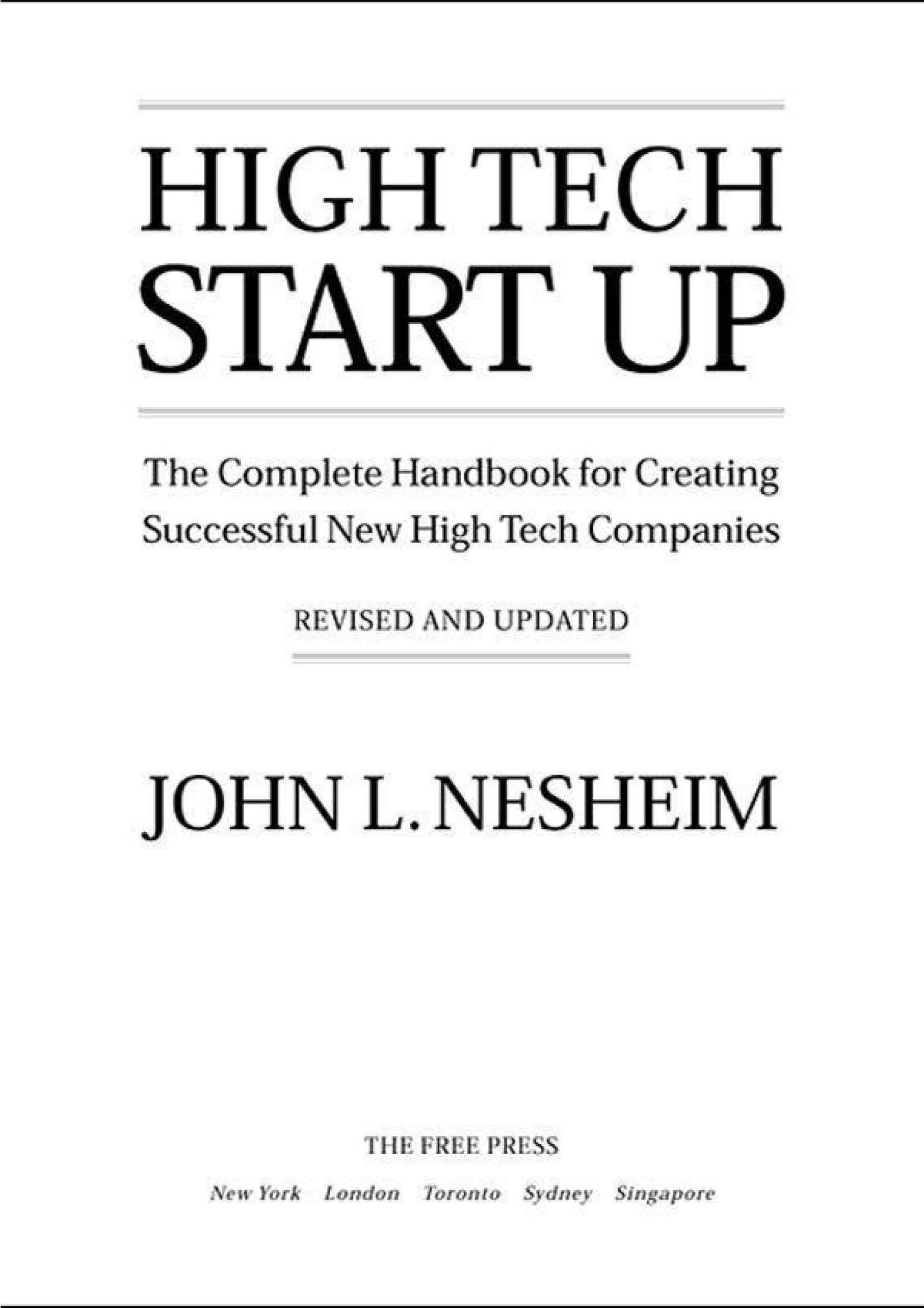High Tech Start Up, The Complete Hal New High Tech Compani