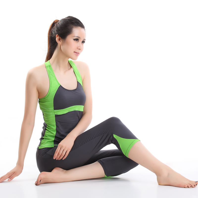 斯泊恩2014春夏新款 瑜伽服 健身跳操服 背心7分裤