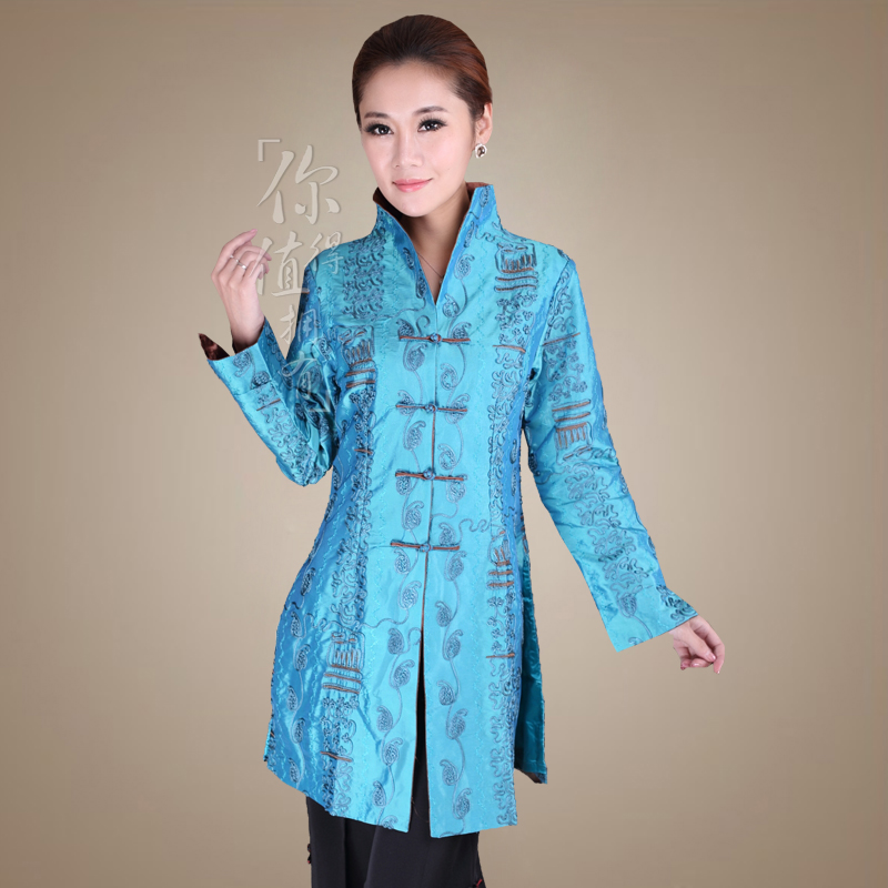 ms. dribbling women windbreaker long stand collar blouses middle-aged mother of classical chinese tangzhuang jacket new special