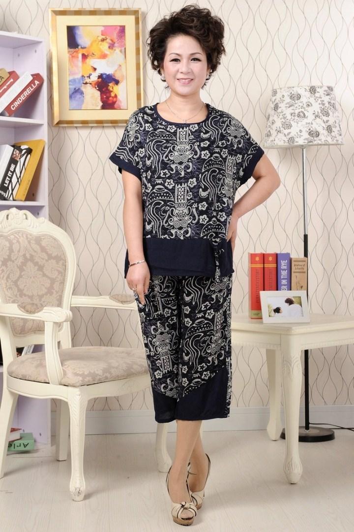 2013中老年女套装裤夏季大码短袖套装气质时尚妈妈装中年女性套装