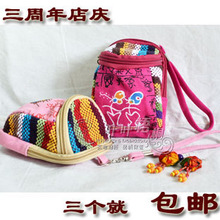 National wind printing mini clutch purse square hand carry bags pouches wholesale women cotton homespun Lijiang