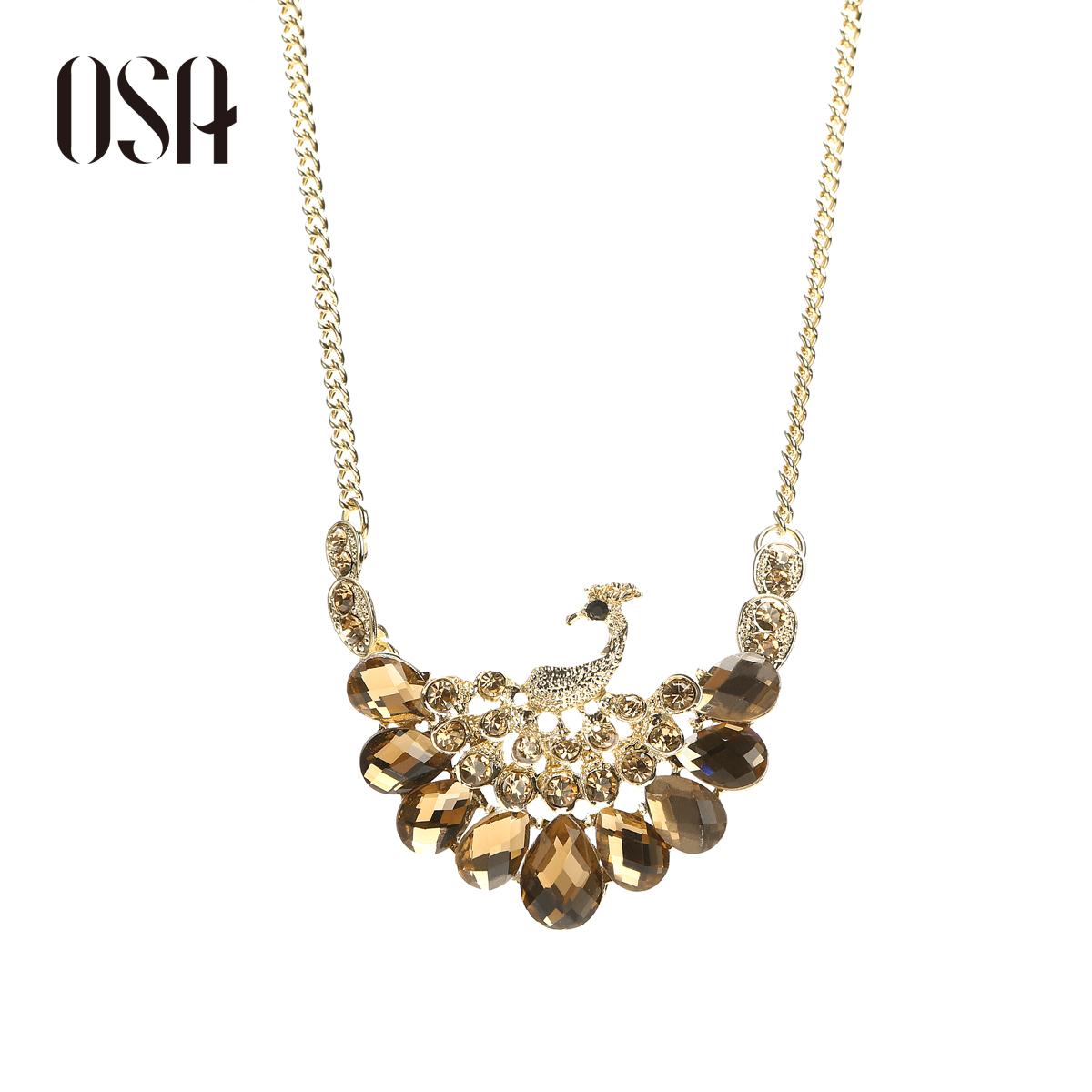 OSA2013冬季新款女饰品 时尚捷克钻孔雀吊坠铁链项链P35305
