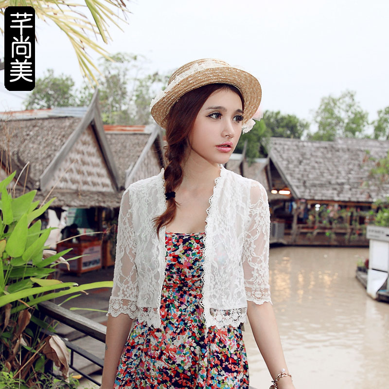 2013 Korean ladies ' summer in spring and autumn female coat short and thin small Joker Cardigan vests sun protection shirt lace capelet