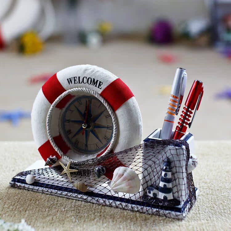 地中海风格家居饰品 现代个性书桌装饰 实用救生圈摆钟带笔筒摆件